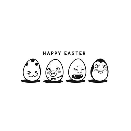 Happy easter eggs vector illustration  イラスト・ベクター素材