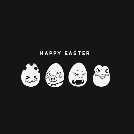 Minimal logo of happy easter vector illustration.