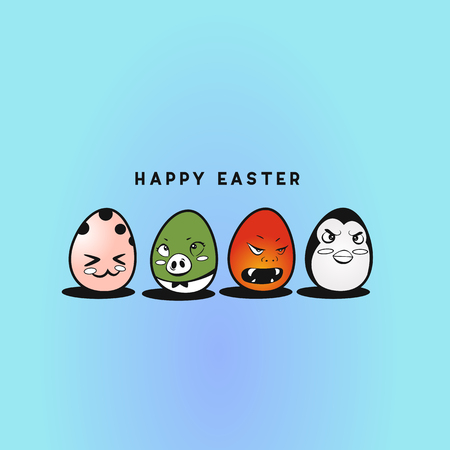 Cute easter eggs vector illustration design.