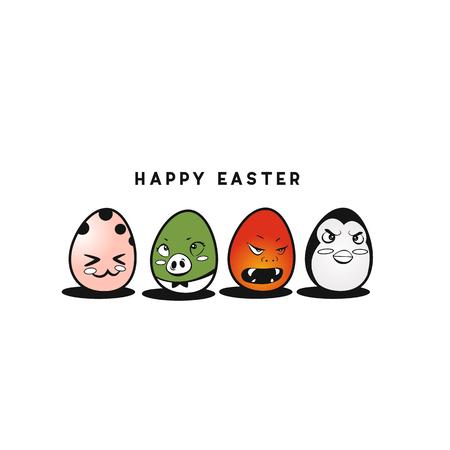 Colorful happy easter eggs vector illustration design.