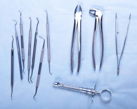 scratcher: Medical instruments for ENT doctor on white