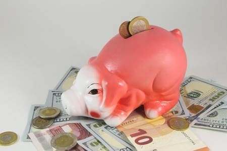 business symbols metaphors: Classic pig bank, Isolated on White a Background.