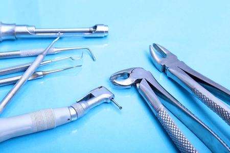 Set of metal medical equipment tools for teeth dental care