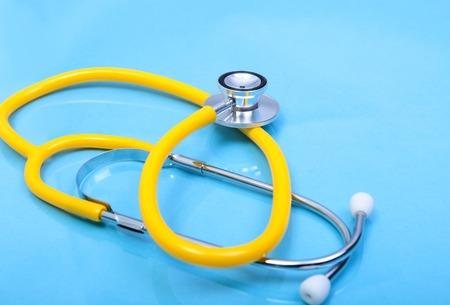 Stethoscope and medical equipmenton on mirror background Stock Photo