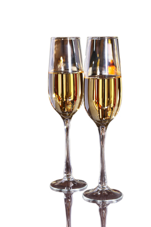 Two Glass of wine, brandy or cognac on white background Stock Photo