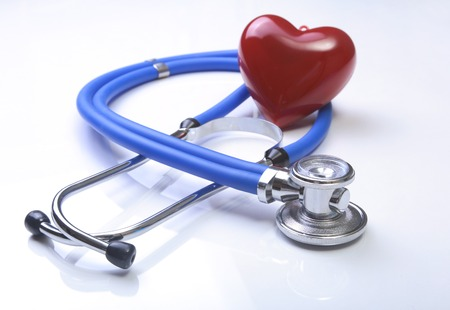 rx: RX prescription, Red heart and a stethoscope isolated on white background