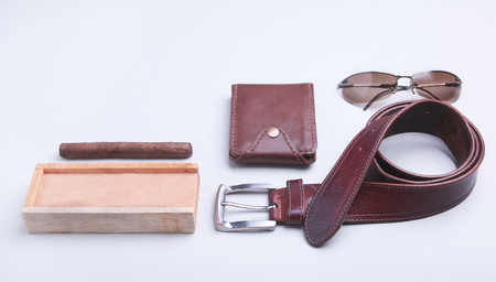 Mens accessories for business and rekreation. A professional studio photograph of mens business accessories. Top view composition Reklamní fotografie