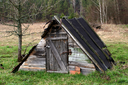 old wooden rustic shed in the middle of a field by the forest. Фото со стока