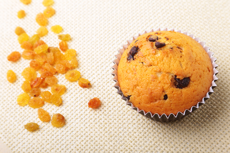 Assorted with Delicious homemade cupcakes with raisins and chocolate isolated on textile background. Muffins. Top view.