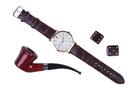 Mens accessories for business and rekreation. Watch, smoking pipe and dice isolated on white background.. Top view composition.