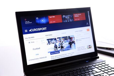 New York, USA - March 25, 2019: Illustrative Editorial Website of EuroSport visible on display screen.