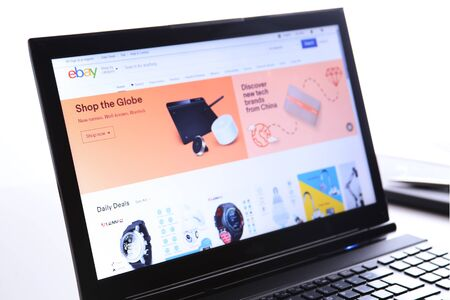 New York, USA - March 25, 2019: Illustrative Editorial of Website of eBay.com. eBay visible on display screen.