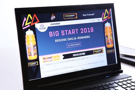 Bologna, Italy - March 26, 2019: Illustrative Editorial Website of Giro dItalia visible on display screen.