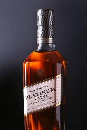 New York, January 5, 2018 , Johnnie Walker Platinum label blended scotch whisky. Private blend, aged 18 year.