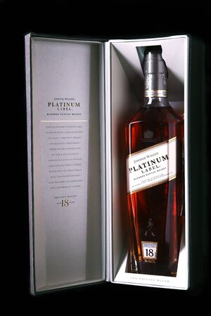 New York, January 5, 2018 , Johnnie Walker Platinum label blended scotch whisky in exclusive gift box. Private blend, aged 18 year.
