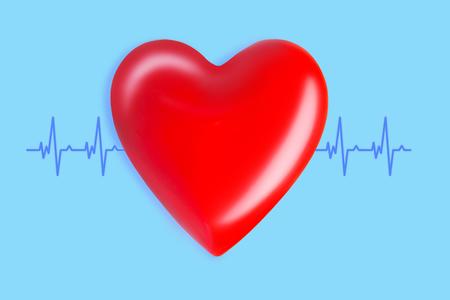 Gesundheits- und Medizinkonzept. Nahaufnahme von rotem Herz mit EKG-Linie auf blauem Hintergrund