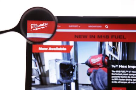 New York, USA - March 25, 2019: Illustrative Editorial of Website of Milwaukee visible on display screen. Milwaukee Electric Tool Corporation is American company.
