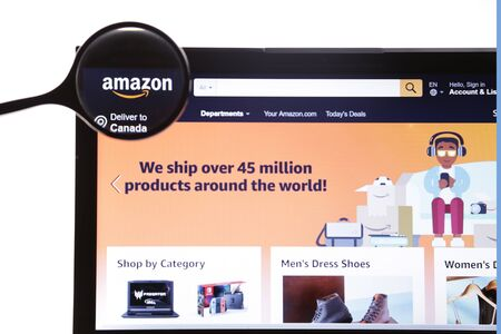 New York, USA - March 25, 2019: Amazon website homepage. It is an American company. Amazon.com visible.