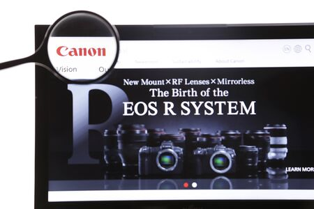 New York, USA - March 25, 2019: Illustrative Editorial of Canon website homepage. Canon visible on display screen. Editoriali