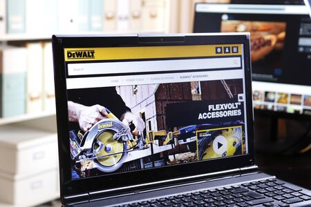 New York, USA - March 25, 2019: Illustrative Editorial of Website of DeWALT visible on display screen. DEWALT Products Company is formed with plant and offices located in Leola, Pennsylvania.