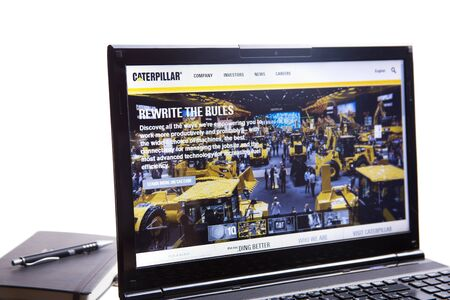 New York, USA - March 25, 2019: Illustrative Editorial of Website of Caterpillar visible on display screen. Caterpillar inc is American company. Editoriali