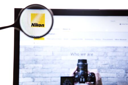 New York, USA - March 25, 2019: Illustrative Editorial of the website for Nikon Corporation,a Japanese multinational corporation headquartered in Tokyo, specializing in optics and imaging products.