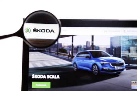New York, USA - March 25, 2019: Illustrative Editorial. Website of Skoda visible on display screen