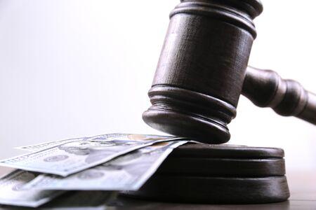 Judges gavel, bills of american dollars as concept business, finance corruption, cash deposit