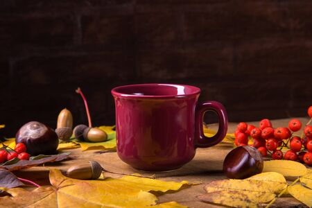 Autumn, fall leaves, hot steaming cup of coffee on wooden table background. Sunday morning coffee relaxing and still life concept