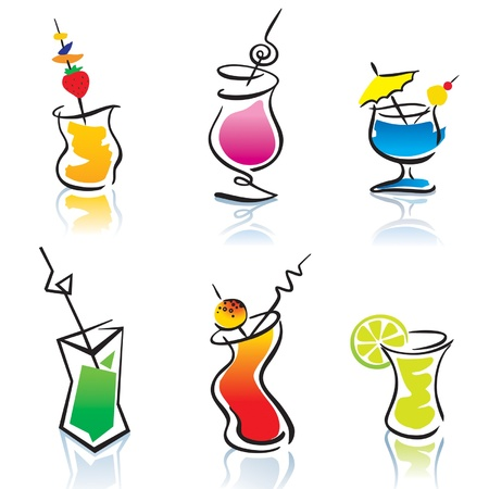 aperitif: Set of the different cocktails. Vector illustration. Illustration