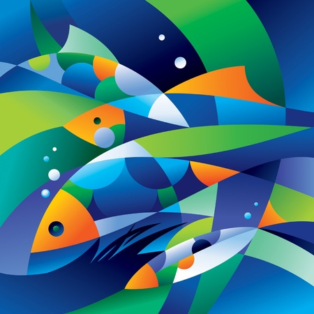 Abstract fishes in the depths of the ocean. Vector illustration. Vector