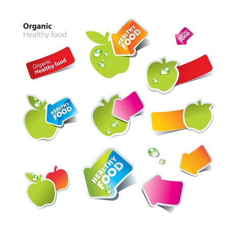 food label: Set of stickers and icons of healthy and organic food. Vector illustration.