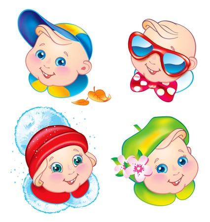 flower nursery: Children in winter, spring, summer and autumn clothes. Vector illustration. Illustration