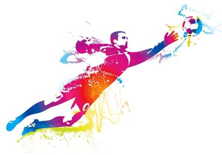 football match: Il portiere di calcio intercetta la palla. Illustrazione vettoriale. Vettoriali