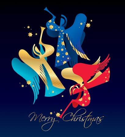 trompeta: Navidad figuraba �ngeles con estrellas doradas sobre un fondo azul oscuro. Ilustraci�n vectorial.