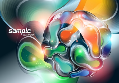 Abstract background with ball and transforming shining forms. Vector illustration.