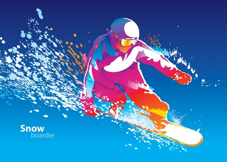 The colorful figure of a young man snowboarding on a blue sky background. Vector illustration. Vector