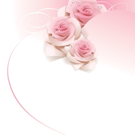 Wedding background with pink roses.  Vector