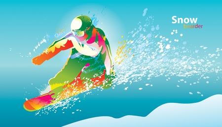 The colorful figure of a young man snowboarding on a blue sky background.  Illustration
