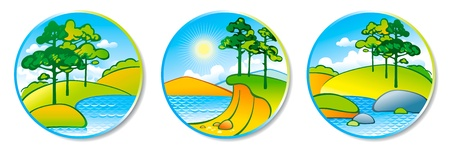 Summer landscape in a circle. Stock Vector - 10576271