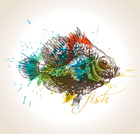 The vintage fish with colorful drops and sprays on a beige background.  Vector