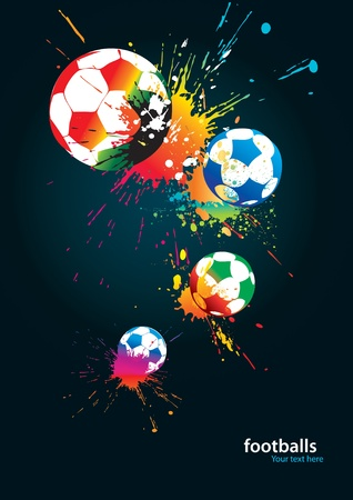 The colorful footballs on a black background. Vector