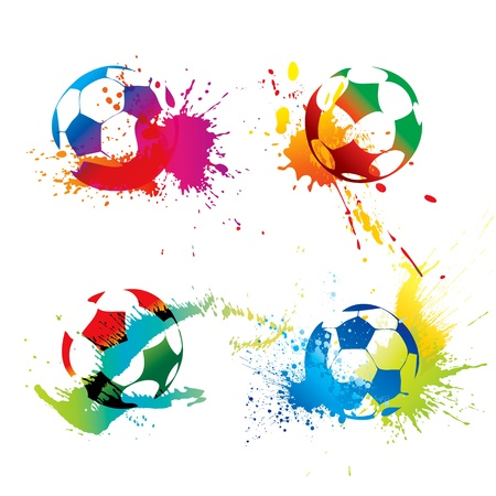 soccer stadium: Colorful footballs