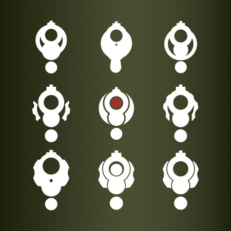 bullet icon: Set of nine icons (revolver).