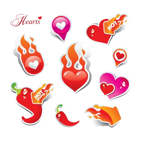 fire heart: Set of hearts. The icons and stickers for themes like love, Valentine