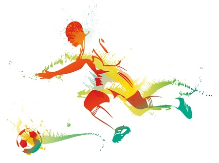 Young man playing soccer.  Vector