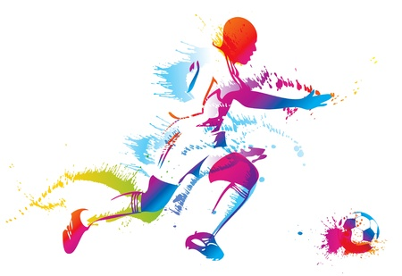 Piłkarz kopie piłkę.