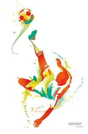 jugadores de soccer: Jugador de f�tbol patea la pelota.  Vectores