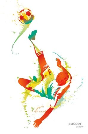 Soccer player kicks the ball.  Vector