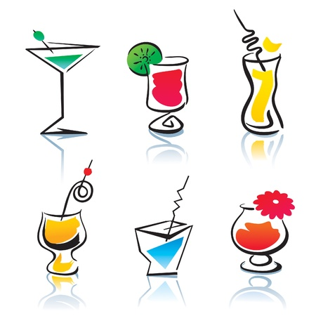 alcoholic beverage: Set of the different cocktails. Illustration